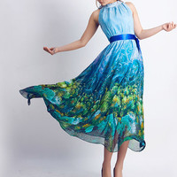 Tulle prom dress with landscape (0082)   30%sale