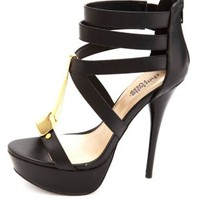 Gold-Plated Strappy Platform Heels by Charlotte Russe
