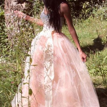 New Pink Grenadine High Waisted Tulle Tutu Homecoming Plus Size Party Elegant Long Skirt