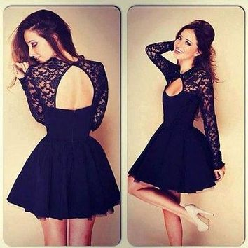 UK Size 6 8 10 12 14 Womens Hollow Out Dress Plus Size Long Sleeve Lace Dress Fit and Flare Black Party Mini Dress
