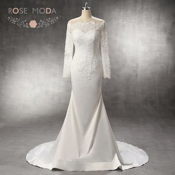 Rose Moda Stunning Pearl Beaded Off Shoulder Long Lace Sleeves Mermaid Wedding Dress with Lace Insert Train Custom Made
