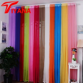 Hot Sale Rainbow Solid Voile Door Window Curtains Drape Panel Sheer Tulle For Home Decor Living Room Bedroom Kitchen P184Z15