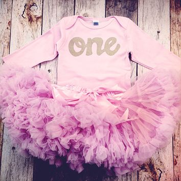 Antique Pink Fluffy pettiskirt tutu with pink long sleeve gold glitter one Onesuit- girls 1st Birthday outfit girls first birthday outfit.