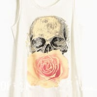 White Paintily Skull and Rose Print Sleeveless Tank Top - Sheinside.com