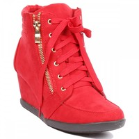 Yab Lace-up Upper Hidden Wedge Sneaker in Red @ yabshop.com