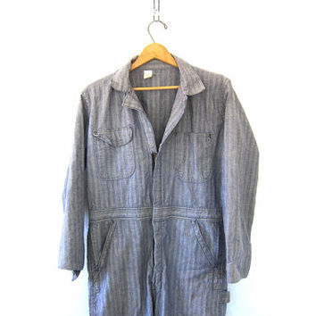 Vintage Denim Wrangler Jumpsuit car Mechanic Pants / striped Jeans Jumper / Romper / Coveralls Jumpsuit / Jumpsuit / Size 38 regular