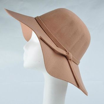 VONE7HQ Wide Brim Wool Felt Floppy  Sun Hat