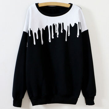 Black White Printed Cuff Sleeve Sweatshirt