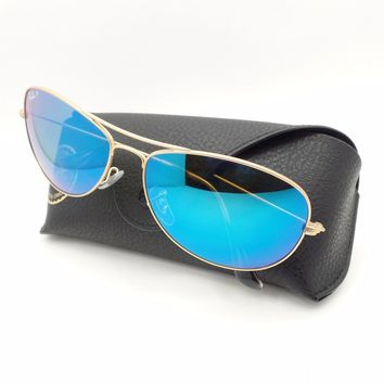 Cheap Ray Ban 3562 112/A1 Matte Gold Blue Polarized Mirror 59 New Authentic Sunglasses outlet