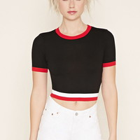 Varsity-Striped Crop Top