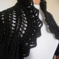 Black lacy knit shrug