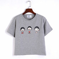 Solid Color Cartoon Printed T-Shirt