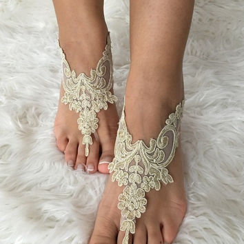 Gold Beach wedding barefoot sandals, french lace sandals, wedding anklet, Beach wedding barefoot sandals, embroidered sandals