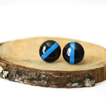Thin Blue Line Earrings . Police Studs . Black & Blue Earrings . Stud Earrings . Post Earrings . Hand Drawn Post Earrings