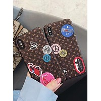 LV Louis Vuitton 2018 couple models fashion trend iPhone X phone case F-OF-SJK
