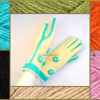 Gloves with fingers Hand knitted white with light blue gloves with fingers Knitted gloves Elegant womens gloves with fingers Knitted mittens