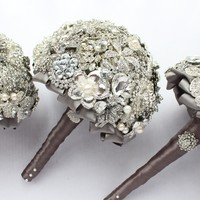 Elegant Classy Brooch Bouquet - Silver and Gray - Custom Made Bridal Bouquet - Personalizable Wedding Bouquet
