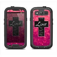 The Love is Patient Cross over Unfocused Pink Glimmer Samsung Galaxy S3 LifeProof Fre Case Skin Set