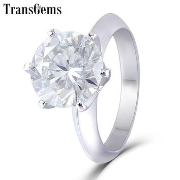 Transgems 14K White Gold Moissanite Engagement Ring Center 10mm F Color Moissanite Diamond Ring for Women Wedding Jewelry