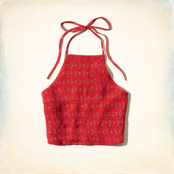 Smocked Tie-Back Halter Top