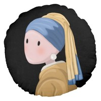 Girl with a Pearl Earring Round Pillow