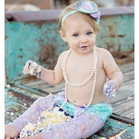 Lavender, Aqua, & Mint, Lace Diaper Cover, Headband, Leggings, bloomers, newborn, baby girl, toddler, birthday, cake smash