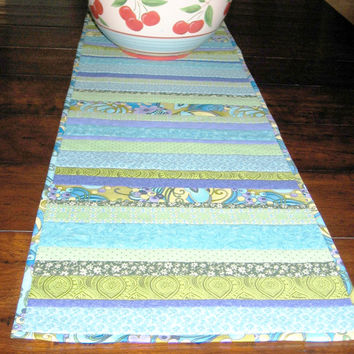 Table Runner Blue Lagoon - quilt - blue aqua turquoise and green stripes - textile art - patchwork