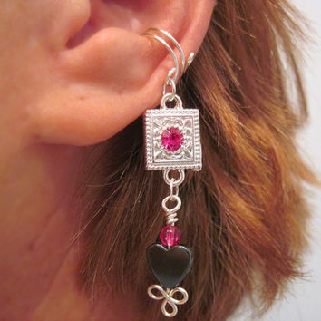 "Cartilage Ear Cuff ""Nuit D'Amour"" Hemalyke Heart and Silver Tone Dangle No Piercing Prom"