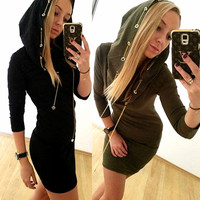 Sexy Ring Metal Chain Hats Women's Fashion One Piece Dress [6368737156]