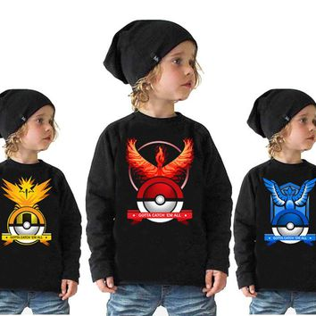 2017 New POKEMON Autumn sweatshirt Cotton Cartoon GO Pikachu Kids boys girls clothes long sleeve hoodies T-shirt retail print