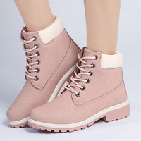 Motocycle Women Female Ankle Boots Square Heel Martin Boots Autumn Walking Shoes Camouflage Outdoor Tactical Sport Shoes