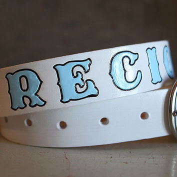 "Children's Custom Leather Name Belt - Up to 29"" / Personalized / Custom Leather Belt"