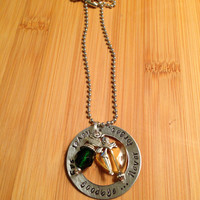 Peter Pan inspired Never say goodbye...never forget - hand stamped Necklace