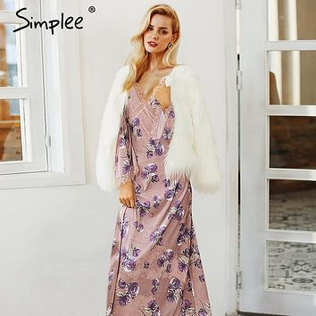 Simplee Elegant lace velvet winter dress women V neck mesh sexy long dress 2018 Autumn flare long sleeve casual dress