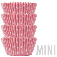 Mini Light Pink Polka Dot Baking Cups