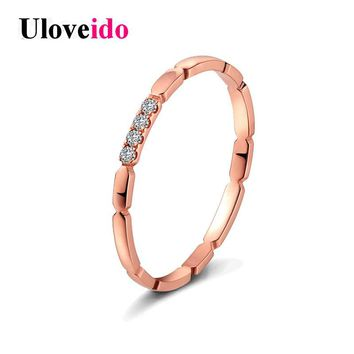 Uloveido Costume Jewelry Rings for Women Engagement Ring Female Rose Gold Color Simple Ringen Anel bague femme Joias 5% Off TR11