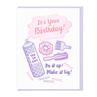 Big Hair Birthday Greeting Card