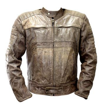 Perrini Men's Fashion Motorcycle Leather Jacket Lined Buffalo High Quality Lined