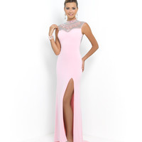 Bubblegum Pink Jeweled High Neck Open Back Jersey Dress