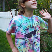 Kids Tie Dye Sun Shirt, Kids M- Cool Sun Tshirt- Childrens Tiedye Sun with Cool Shades- Hippie Kids Clothes, Boho Kids, Bohemian Kids