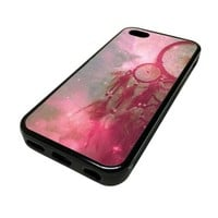 Apple iPhone 5C 5 C Case Cover Nebula Soft Dream Catcher DESIGN BLACK RUBBER SILICONE Teen Gift Vintage Hipster Fashion Design Art Print Cell Phone Accessories