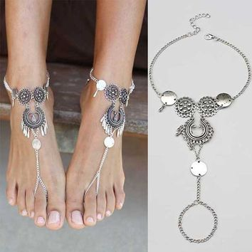 Retro Bohemian Style Antique Silver Hollow Lady Anklet Bracelet Fashion Tassels Water Drop Barefoot Anklets Foot Jewelry