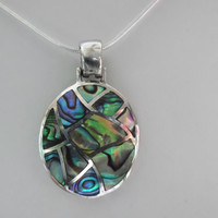 Abalone Shell Pendant Sterling Silver Sea Shell Jewelry Inlay