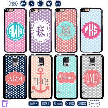 Personalized iPhone 6 case , Polka dot iPhone 5 case, custom Samsung galaxy note 3 case , customized Samsung S4, Monogram iPhone 5s 4s 5c C7