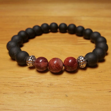 Red Jasper and Bian Stone Jewelry - Men Bracelet, Gift Ideas, Red Jasper Bracelet, Healing Jewelry