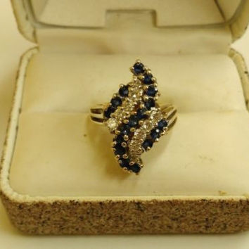 14K Yellow Gold 1.35tcw Sapphire and Diamond Ring Size 4