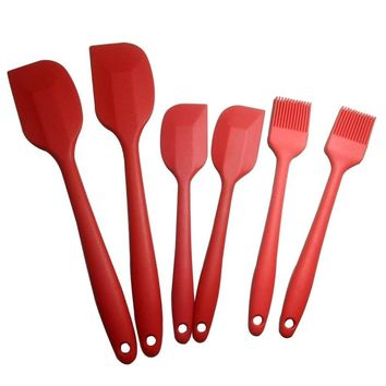 6pcs/set Silicone Spatula Head Resistant Kitchen Utensils,Non-stick Baking Pastry Spatulas Fondant Cake Decorating Tools