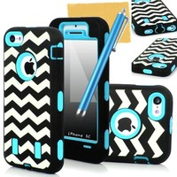 iPhone 5C Case, OMIU(TM) Raised Grain Pattern High Impact Hybrid Armor Defender Hard Soft Silicone Back Case Cover Combo For iPhone 5C(Light Blue Inner Skin), With Screen Protector, Stylus and Cleaning Cloth