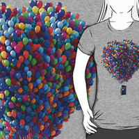 Tardis doctor who fly with baloons T-Shirt man, woman and kids by Troycesar