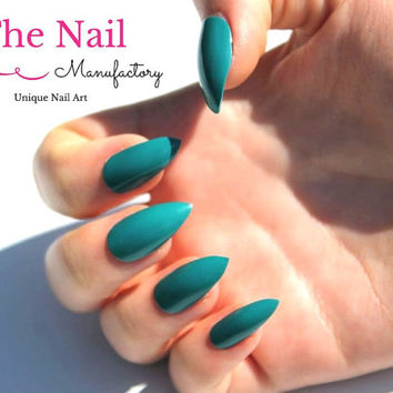 Teal False Nails - Glossy Blue Fake Nail Set - choose Stiletto Nails, Oval Nails or Square Nails - Handpainted Aritficial Nail Set -Nail Art